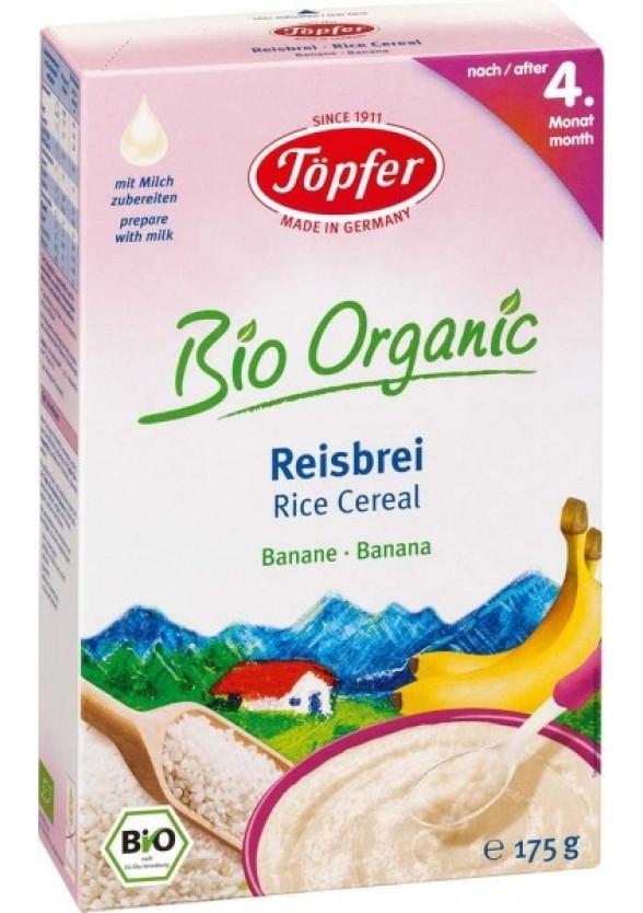 TЬОПФЕР БИО ОРГАНИК Безмлечна оризова каша Банан 4+ 175гр   TOPFER BIO ORGANIC Rice cereal Banana 4+ 175g