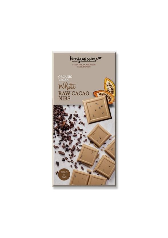БИО Бял шоколад със сурови Какаови зърна 70гр БЕНДЖАМИСИМО   White chocolate with raw cacao nibs 70g BENJAMISSIMO