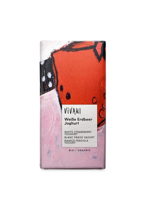 БИО Бял шоколад с Ягоди и Йогурт 100гр ВИВАНИ | BIO White Chocolate with Strawberries and Yoghurt 100g VIVANI