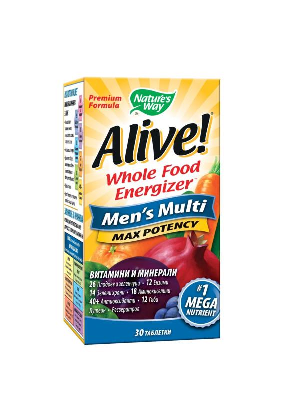 АЛАЙВ Мултивитамини за мъже 30 табл. НЕЙЧЪР'С УЕЙ   ALIVE Multivitamins Max Potency Men's Multi 30 tabs NATURE'S WAY