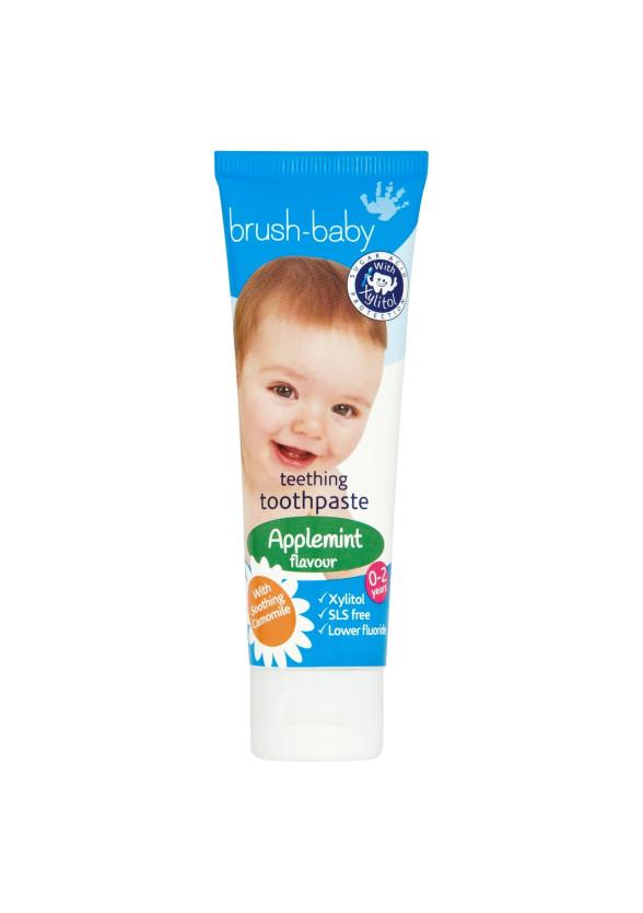 БРЪШ-БЕЙБИ ДЖЕНТЪЛ ЕПЪЛМИНТ Паста за зъби за бебета и деца 0-2 г. 50мл.   BRUSH-BABY GENTLE APPLEMINT Toothpaste for babies & kids 0-2 50ml