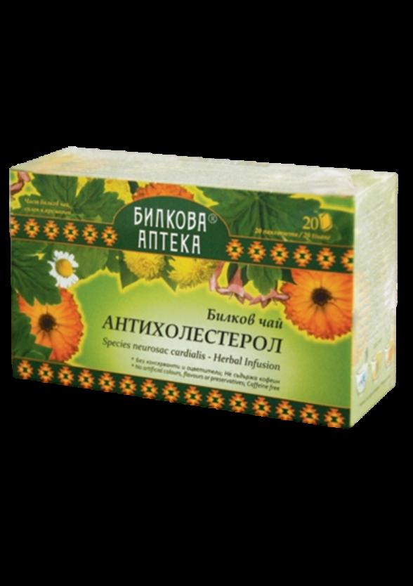 Билков чай Антихолестерол 20бр филтърни пакетчета, 30гр БИЛКОВА АПТЕКА БИОХЕРБА | Herbal tea anticholesterol 20s teabags, 30g HERBAL PHARMACY BIOHERBA