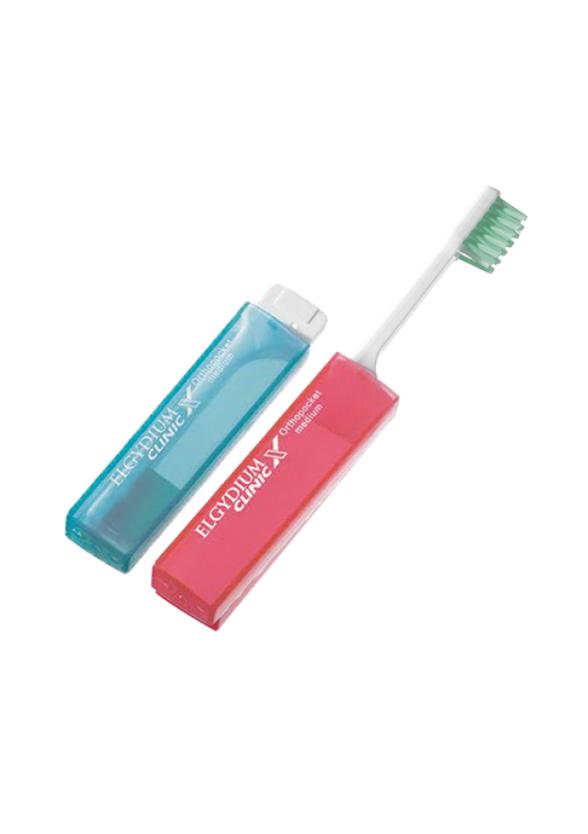ЕЛГИДИУМ КЛИНИК X Четка за зъби ОРТОПОКЕТ медиум | ELGYDIUM CLINIC X Toothbrush ORTHOPOCKET medium