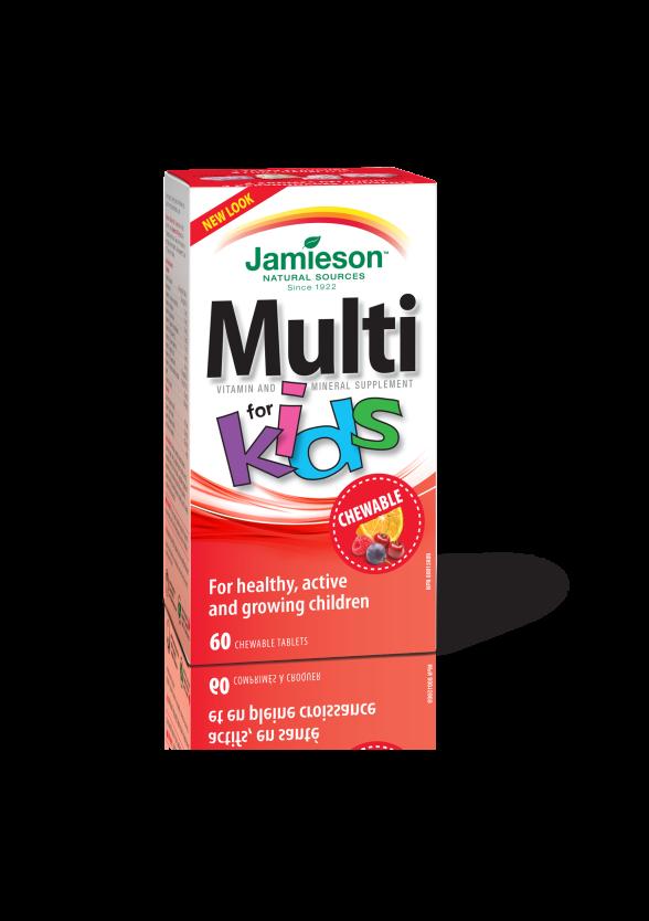 МУЛТИВИТАМИНИ ЗА ДЕЦА желирани таблетки 60бр ДЖЕЙМИСЪН | MULTI FOR KIDS chewable tablets 60s JAMIESON