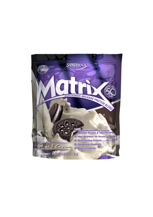 МАТРИКС 5.0 – БИСКВИТИ И СМЕТАНА прах 2.27кг СИНТРАКС | MATRIX 5.0 – COOKIES & CREAM pwd 2.27kg SYNTRAX