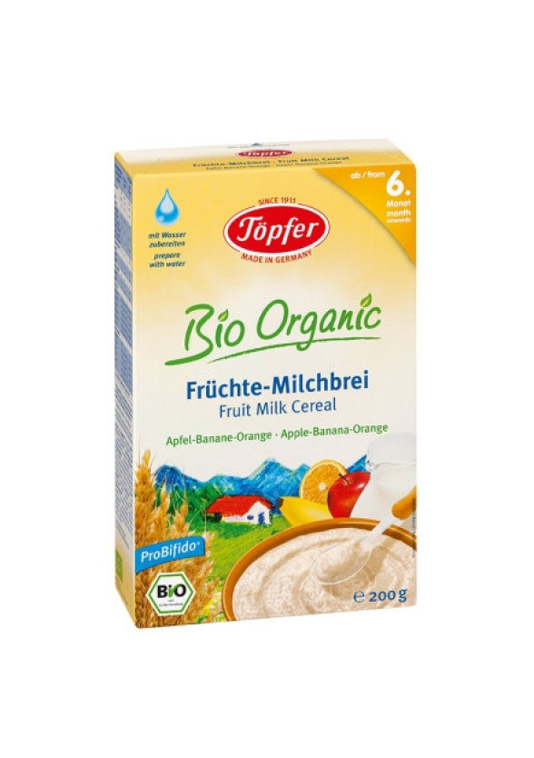 TЬОПФЕР БИО ОРГАНИК Млечна каша с плодове Ябълка Банан и Портокал 6+ 200гр | TOPFER BIO ORGANIC Fruit milk cereal Apple Banana Orange 6+ 200g