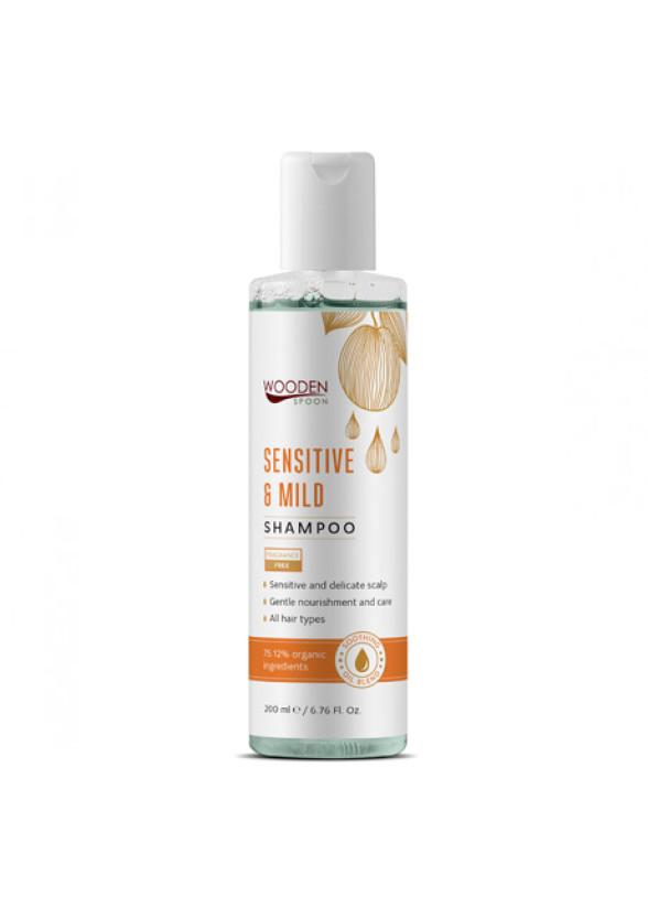 УДЪН СПУУН Шампоан за чувствителен скалп Sensitive & Mild 200мл | WOODEN SPOON Sensitive & Mild Shampoo 200ml
