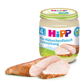 ХИП БИО Заготовка Пюре Пилешко месо 4+ м. 125гр. | HIPP BIO Chicken puree 4+ m 125g