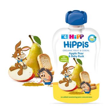 ХИП ХИПИС БИО Фино пюре ябълка, круша и бебешки сухари 4+ м. 100гр.   HIPP HIPPIS BIO apple pear and baby rusk fine puree 4+ m 100g