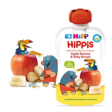 ХИП ХИПИС БИО Фино пюре ябълка, банан и бебешки бисквити 4+ м. 100гр. | HIPP HIPPIS BIO apple banana and baby biscuit fine puree 4+ m 100g