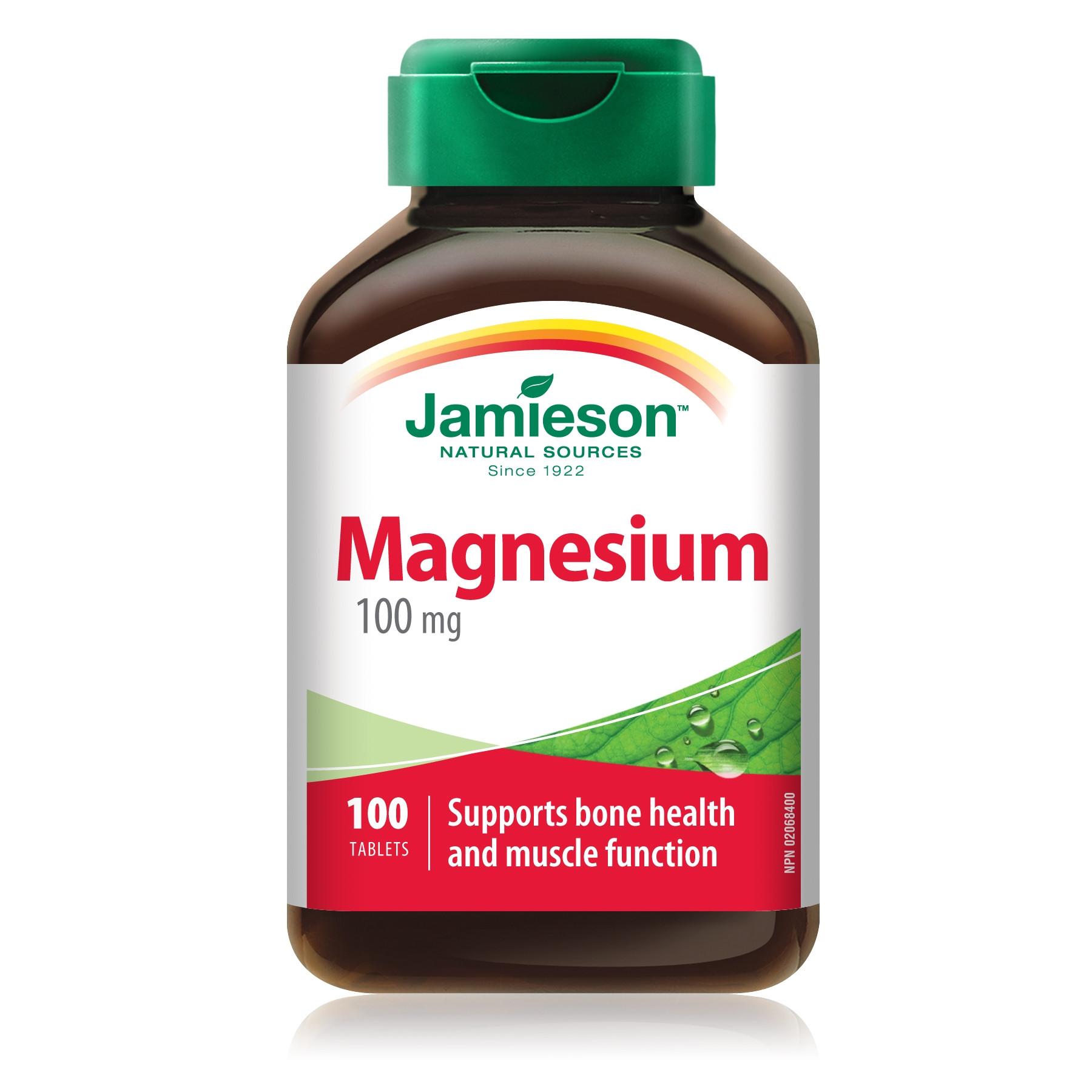 МАГНЕЗИЙ 100мг таблетки 100бр ДЖЕЙМИСЪН | MAGNESIUM 100mg tabs 100s JAMIESON