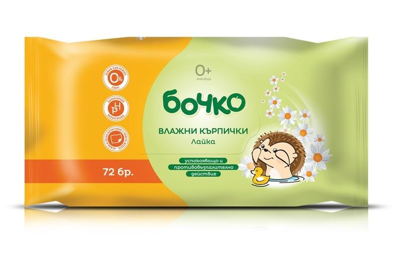 БОЧКО Влажни кърпички с Лайка 72бр   BOCHKO Wet wipes with Camomile 72s