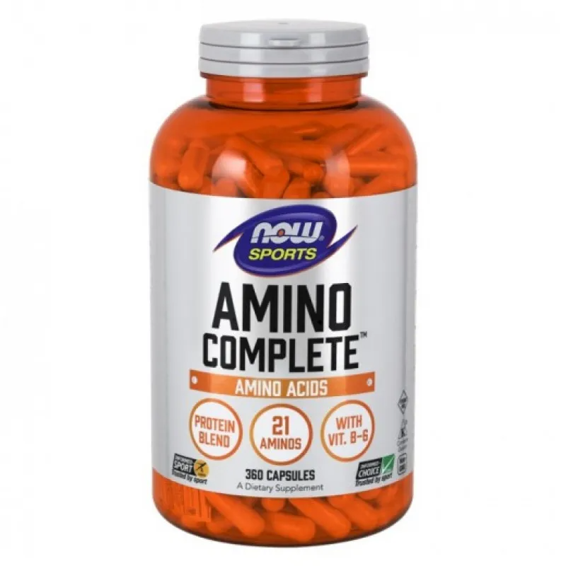 АМИНО КЪМПЛИЙТ аминокиселини капсули 360 бр. НАУ ФУУДС | AMINO COMPLETE caps 360s NOW FOODS
