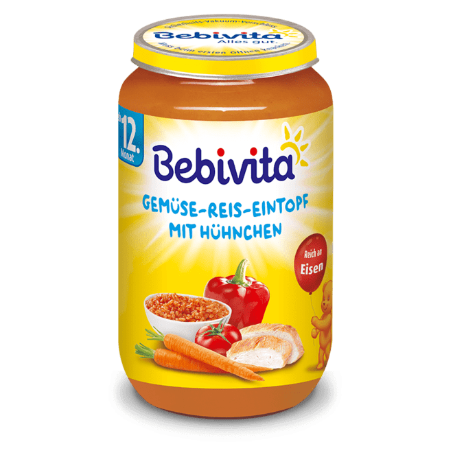 БЕБИВИТА Ориз със зеленчуци и пилешко месо 12+ м. 250гр. | BEBIVITA Rice with vegetables and chicken 12+ 250g