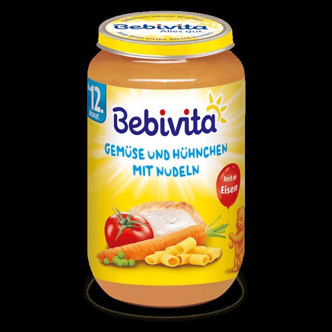 БЕБИВИТА Спагети със зелечнчуци и пилешко месо 12+ м. 250гр.   BEBIVITA Spaghetti with vegetables and chicken 12+ 250g