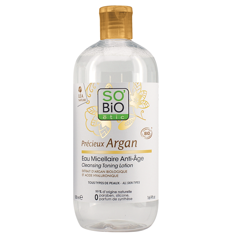СО'БИО PRECIEUX ARGAN Анти-ейдж мицеларна вода 500мл | SO'BIO PRECIEUX ARGAN Anti-aging micellar water 500ml