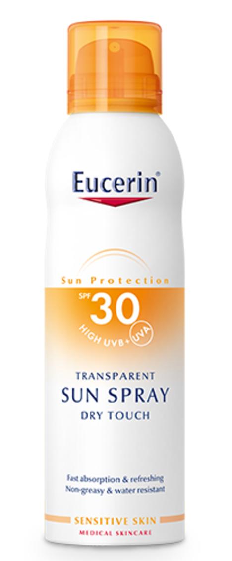 ЮСЕРИН СЪН Прозрачен слънцезащитен аерозол спрей SPF30 200мл | EUCERIN SUN Transparent spray dry touch SPF30 200ml