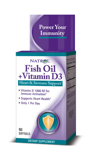 РИБЕНО МАСЛО + ВИТАМИН D3 гел капсули 90 бр. НАТРОЛ | FISH OIL + VITAMIN D3 softgels 90s NATROL