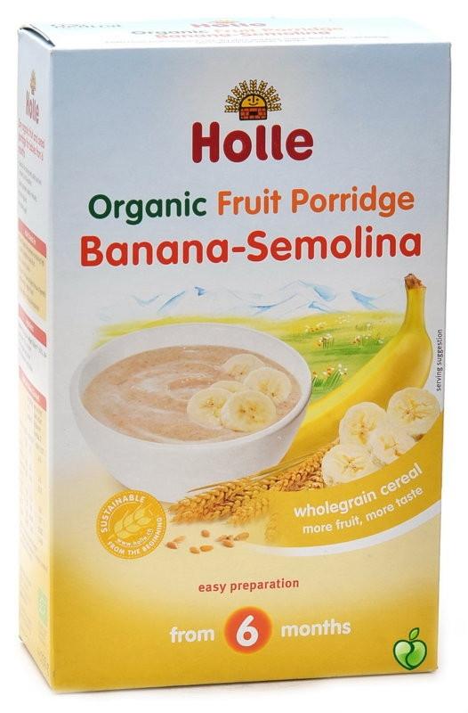 ХОЛЕ ОРГАНИК Безмлечна каша с грис и банан 6+ 250гр   HOLLE ORGANIC Fruit porridge banana-semolina 6+ 250g