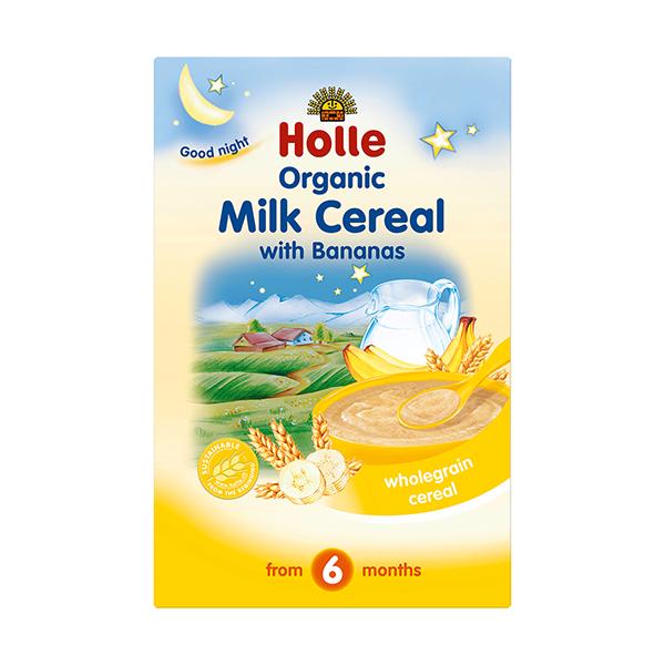 ХОЛЕ ОРГАНИК Млечна каша с банани 6+ 250гр   HOLLE ORGANIC Milk cereal whit bananas 6+ 250g