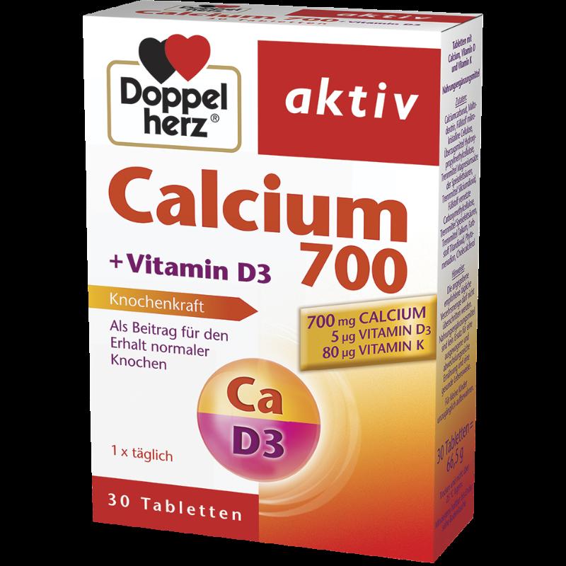 КАЛЦИЙ 700 + ВИТАМИН D3 + K 30бр. таблетки ДОПЕЛХЕРЦ АКТИВ | CALCIUM 700 + VITAMIN D3 + K 30s tablets DOPPELHERZ AKTIV