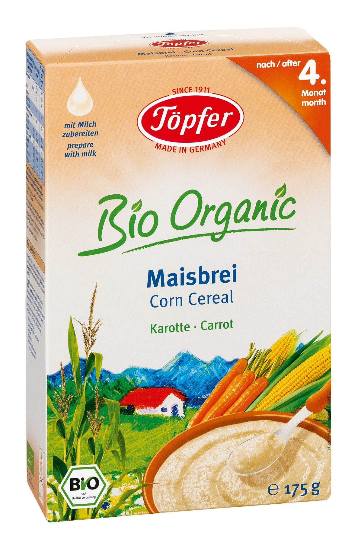 TЬОПФЕР БИО ОРГАНИК Безмлечна царевична каша Морков 4+ 175гр | TOPFER BIO ORGANIC Corn cereal Carrot 4+ 175g