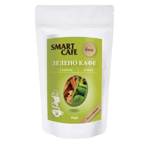 СМАРТ КАФЕ БИО Зелено кафе без кофеин, с канела 200гр   SMART CAFE BIO Green decaf coffee, with cinnamon 200g
