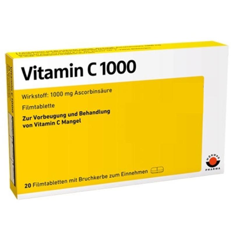Витамин Ц 1000мг филмирани таблетки 20бр. ВЬОРВАГ ФАРМА | Vitamin C 1000mg film-coated tabs 20s WOERWAG PHARMA