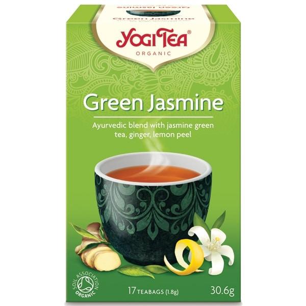"ЙОГИ ОРГАНИК БИО Аюрведичен чай ""Зелен жасмин"", пакетчета 17бр   YOGI ORGANIC BIO Ayurvedic tea blend ""Green jasmine"" teabags 17s"