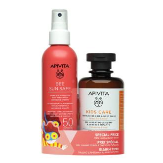 Слънцезащитен спрей за деца SPF50 x 200мл + 2 в 1 Детски почистващ продукт за коса и тяло x 250мл АПИВИТА   Sun kids lotion SPF50 x 200ml + Kids hair and body wash x 250ml APIVITA