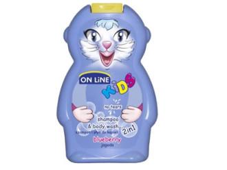 ОН ЛАЙН Детски шампоан и душ гел с аромат на Боровинка 250мл | ON LINE Children's shampoo and shower gel whit Blueberry flavor 250ml