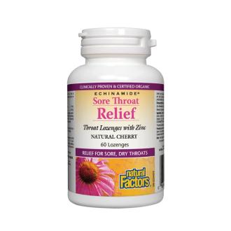 ЗДРАВО ГЪРЛО (Ехинацея, Цинк + Витамин Ц) 60мг таблетки за смучене 60бр НАТУРАЛ ФАКТОРС  | SORE THROAT RELIEF 60mg tabs 60s NATURAL FACTORS