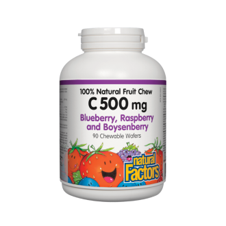 ВИТАМИН С 500мг (горски плодове) дъвчащи таблетки 90 бр. НАТУРАЛ ФАКТОРС | VITAMIN C (Blueberry, Raspberry, Boysenberry) 500mg chewable tabs 90s NATURAL FACTORS