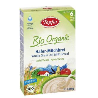 TЬОПФЕР БИО ОРГАНИК Млечна каша с пълнозърнест овес Ябълка и Ванилия 6+ 200гр | TOPFER BIO ORGANIC Whole grain oat milk cereal Apple Vanilla 6+ 200g