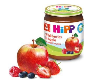 ХИП БИО Пюре Горски плодове с ябълка 4+ м. 125гр. | HIPP BIO Wild berries and apple puree 4+ m 125g