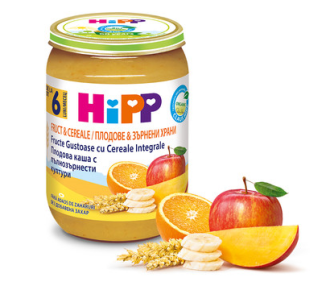 ХИП БИО Плодова каша с пълнозърнести култури 6+ м. 190гр. | HIPP BIO Fruits with wholemeal cereal mash 6+ m 190g