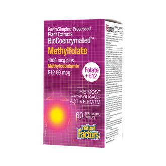 ФОЛИЕВА КИСЕЛИНА (МЕТИЛФОЛАТ) 1000мг + ВИТАМИН Б12 50мг 60бр сублингвални таблетки НАТУРАЛ ФАКТОРС | BIOCOENZYMATED METHYLFOLATE 1000mg + B12 METHYLCOBALAMIN 50mg 60s sublingual tablets  NATURAL FACTORS