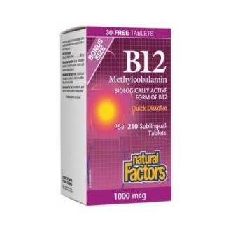 ВИТАМИН Б-12 (МЕТИЛКОБАЛАМИН) 1000мкг 180бр + ПОДАРЪК 30бр сублингвални таблетки НАТУРАЛ ФАКТОРС | VITAMIN B-12 (METHYLCOBALAMIN) 1000mcg 180s + GIFT 30s sublingual tablets NATURAL FACTORS