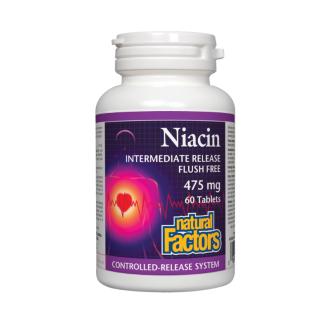 НИАЦИН (ВИТАМИН Б-3) с удължено освобождаване 475мг 60 таблетки НАТУРАЛ ФАКТОРС | NIACIN (VITAMIN B-3) time release 475mg 60 tablets NATURAL FACTORS