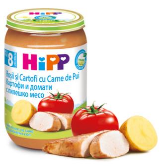 ХИП БИО Пюре Домати и картофи с пилешко месо 8+ м. 220гр. | HIPP BIO Tomatoes and potatoes with chicken puree 8+ m 220g
