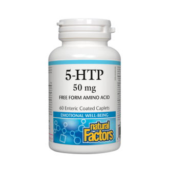 5-HTP (Хидрокситриптофан) 50мг. 60бр. филмирани каплети НАТУРАЛ ФАКТОРС | 5-HTP (Хydroxytryptophan) 50mg 60s enteric coated caplets NATURAL FACTORS