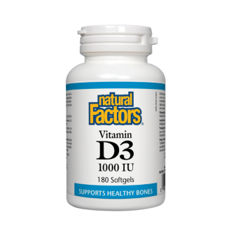 ВИТАМИН Д3 1000 IU 180 софтгел капсули НАТУРАЛ ФАКТОРС | VITAMIN D3 1000 IU 180 softgels NATURAL FACTORS