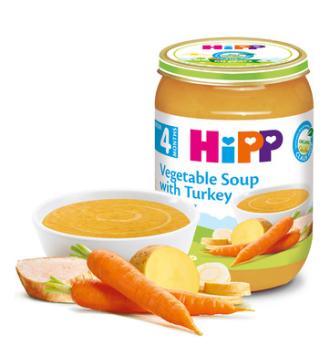 ХИП БИО Пюре Зеленчукова супа с пуешко месо 4+ м. 190гр. | HIPP BIO Vegetable soup with turkey puree 4+ m 190g
