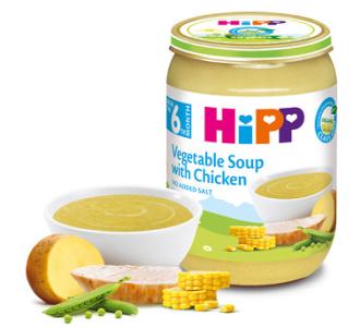 ХИП БИО Пюре Зеленчукова супа с пилешко месо 6+ м. 190гр. | HIPP BIO Vegetable soup with chicken puree 6+ m 190g