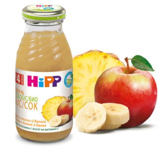 ХИП БИО Сок от ананас и банан с ябълка 4+ м. 200мл.   HIPP BIO Organic juice pineapple and banana with apple 4+ m 200ml