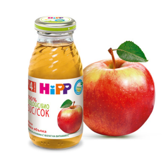 ХИП БИО Сок от мека ябълка 4+ м. 200мл.   HIPP BIO Organic juice fine apple 4+ m 200ml