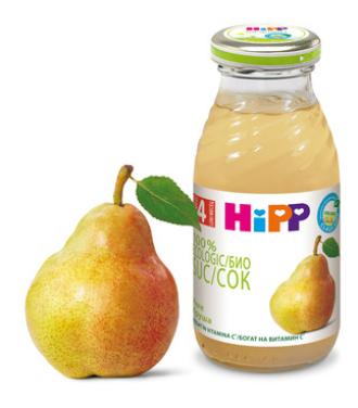 ХИП БИО Сок от круши 4+ м. 200мл.   HIPP BIO Organic juice pear 4+ m 200ml