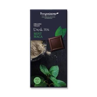 БИО Натурален шоколад с Мента и Мака, 70% какао 70гр БЕНДЖАМИСИМО | Dark chocolate with Mint and Maca, 70% cocoa 70g BENJAMISSIMO
