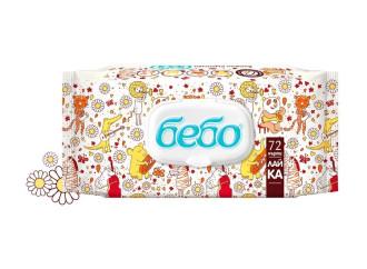 БЕБО Мокри кърпички с екстракт от Лайка 72бр | BEBO Wet Wipes with Chamomile extract 72s