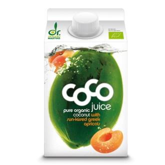 ДР. МАРТИНС Кокосова вода с кайсия 500мл   DR. MARTINS Coco juce with sun-kissed greek apricots 500ml
